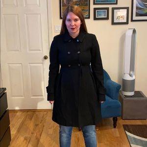 Zara wool blend double breasted pea coat black S